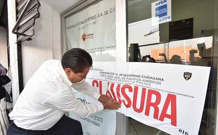 Clausura de empresa de seguridad privada  Naucalpan